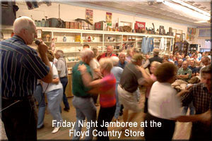 People dancing to country music in the Floyd store
