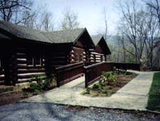 Lodge at Hungry Mother State Park with access ramp to entrance