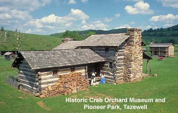 Pioneer cabins at Historic Crab Orchard Museum and Pioneer Park