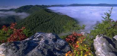 Panoramic view of Cumberland Gap with morning mist