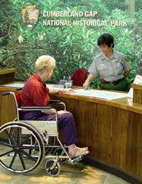 Woman in wheelchair at Visitor Center