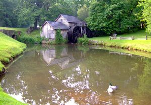 Photo of Mabry Mill with mill pond in the forefront