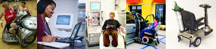 collagae: dialysis treatment, scooter with oxygen tank and TTY relay center